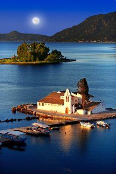 Greek Orthodox Convent of Vlachernas, Kanoni, Peninsula, Corfu Corfu Greece, Santorini Greece, Athens Greece, Beautiful Places To Travel, Most Beautiful Cities, Romantic Travel, Amazing Places, Beautiful Scenery Pictures, Greece Pictures