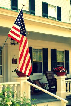 front porches & American flags..