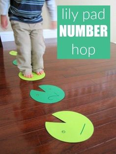 This lily pad number hop is a great multip purpose activity that includes counting, gross motor skills and lots of fun! Frog Activities, Gross Motor Activities, Learning Activities, Preschool Activities, Home Preschool, 2 Year Old Activities, Toddler Home Activities, Toddler Themes, Movement Activities