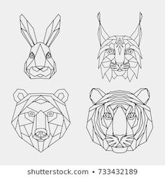 Set polygon animals of Asia. The linear geometric heads of a rabbit, lynx, bear, tiger. Geometric Shapes Drawing, Geometric Tiger, Lynx, 3d Drawing Pen, Planet Drawing, Dinosaur Tattoos, Illustration, Vector Art, Tiger Vector