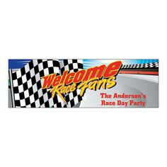 """Personalized Small """"Welcome Race Fans"""" Banner - OrientalTrading.com"""