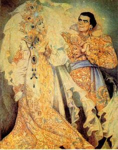 made in russia, Russian fairytale illustration, he's kind of creepy but I love the woman