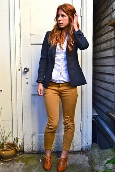 mustard colored pants + navy blazer + booties instead if these + white shirt = preppy sailing attire