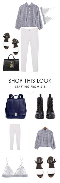 """➿"" by lucielux ❤ liked on Polyvore featuring Proenza Schouler, Dr. Martens, MANGO, Fleur of England, Robert Clergerie, Gucci, men's fashion, menswear, GetTheLook and BackToSchool"