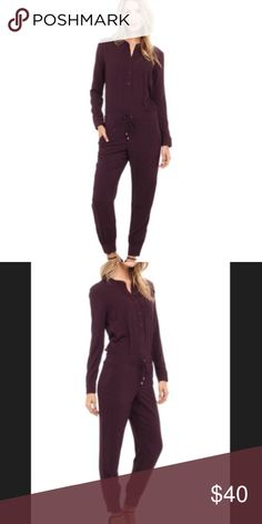 Splendid Jumpsuit Like new, plum colored, long sleeve jumpsuit. Perfect for fall! Worn once and dry cleaned. Splendid Other