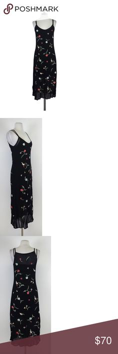 "Vivenne Tam- Black Embroidered Slip Dress Sz S Update this vintage slip dress with a cool light blue denim jacket! The pretty embroidered design of this dress look like pins that will make you stand out! Size S Floral & bird embroidery Spaghetti straps V-neck Lined Bust 30"" Shoulder to hem 46"" New York based designer Vivienne Tams brand is known for its clean lines, Asian prints, and rich color sense. As a whole, the bran can be described as ÏEast meets West.e Tams Brand is named after her…"