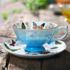 European Style Butterfly Pattern Coffee Cup with Saucer on sale, Buy Retail Price Coffee Mugs at Beddinginn.com