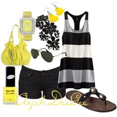 Yellow accessories.