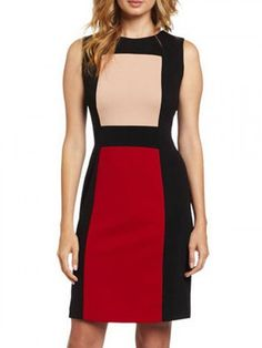 Black, Color Block, Short Sleeve, Bodycon Dress