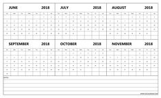 free half yearly june to november 2018 calendar with notes