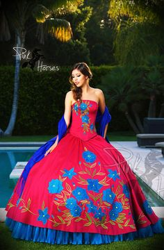 Custom-made Made. Royal Blue Mexican quinceanera ...