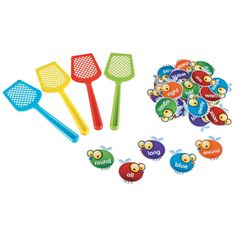 """Learn essential words with these friendly flies featuring 220 Dolch sight words. After a sight word is called out, race to swat the matching fly. Collect the most flies and win! Set features various game instructions and 5 levels of play. Includes 110 double-sided sight word flies and 4 colorful swatters. Set includes 114 pieces. Swatters are plastic and each measure 9""""L. Grades K+ 
