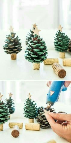 Spread some holiday cheer and decorate your home with these DIY Pinecone Christm., Frisuren,, Spread some holiday cheer and decorate your home with these DIY Pinecone Christmas Trees. Create your own mini pinecone trees with spray paint and win. Kids Crafts, Kids Diy, Decor Crafts, Diy Christmas Crafts To Sell, Christmas Crafts For Kids To Make At School, Christmas Crafts For Kids To Make Toddlers, Diy Crafts Home, Elderly Crafts, Family Crafts