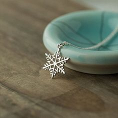 Sterling Silver Snowflake Pendant Necklace / Minimalist by burnish, $29.00