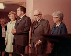 President and Mrs. Richard Nixon visit former President Harry S. Truman and former First Lady Bess W. Truman at the Truman Library, March 21, 1969.