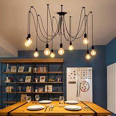 Industrial Spider Chandelier Pendant Light – Ivy and Wilde Simple Chandelier, Chandelier Ceiling Lights, Ceiling Light Fixtures, Hanging Lights, Ceiling Lamp, Pendant Chandelier, Vintage Pendant Lighting, Industrial Pendant Lights, Modern Pendant Light