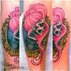 """I made this tattoo at The Wooster Street Social Club on the clients forearm. It's inspired by Lady Gaga in her skeleton makeup from the """"Born This Way"""" music video."""