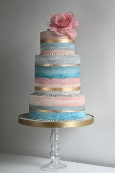 """Soft washed"" pink, light blue, aqua, and gold striped wedding cake with oversized gum paste rose topper. Smaller version for gender reveal cake Metallic Cake, Metallic Wedding Cakes, Unique Wedding Cakes, Gold Cake, Unique Cakes, Whimsical Wedding, Rustic Wedding, Naked Wedding Cake, Painted Wedding Cake"