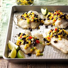Tilapia with Corn Salsa Best Fish Recipes, Tilapia Recipes, Seafood Recipes, Dinner Recipes, Cooking Recipes, Favorite Recipes, Easy Recipes, Dinner Ideas, Easy Cooking