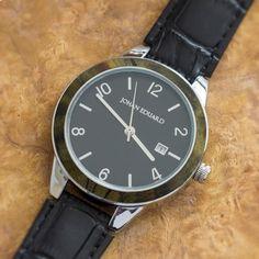 Buckeye Burl Wood Watch, Metal Wristwatch With Faux Alligator Strap-JE1008-5