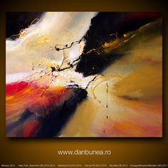 "Large abstract painting by Dan Bunea: ""Romance"",  80x100cm"