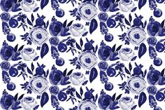 Blue and White Floral Watercolor fabric by theartwerks on Spoonflower - custom…