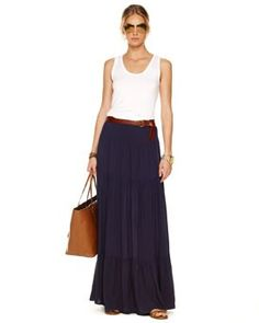Could be: CAbi maritime maxi skirt and wht twist tank www.cabionline.com  Could be my summer uniform!