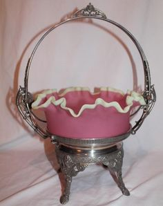 James W Tufts twisted handle silver plated basket
