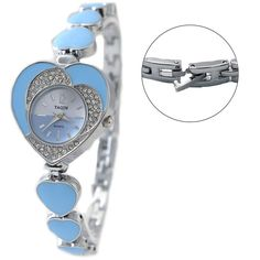 FW899D Shiny Silver Band Light Blue Dial Two Tone Dial Heart Case Bracelet Watch