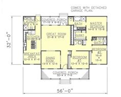 Plan #10901: 3 bedroom, 2.5 bath house plan with 2-car garage. Colonial house style, 1 story | HousePlansPlus.com