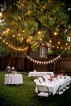 backyard party lighting perfect for night time outdoor dinner party