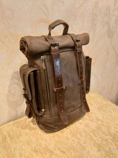 Leather backpack - buy in the online store .- Рюкзак из кожи – купить в интернет-магазине… Leather backpack – buy in online store at the Fair of Masters with delivery – HMVRNRU Backpack Straps, Backpack Bags, Leather Backpack, Grandeur Nature, Leather Art, Leather Pattern, Leather Projects, Leather Working, Mens Fashion