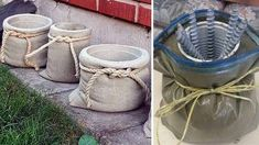 Excellent DIY examples for eye-catching flower beds from old or unnecessary things Excellent DIY examples for eye-catching flower beds from old or unnecessary things Concrete Bags, Concrete Crafts, Concrete Garden, Diy Cement Planters, Cement Art, Diy Y Manualidades, Pinterest Diy, Mason Jar Diy, Garden Crafts