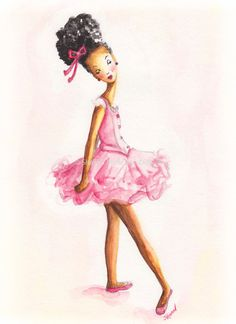 African American Ballerina Girl 6 x 9 Fine Art by YellowRoseDBS, $15.00