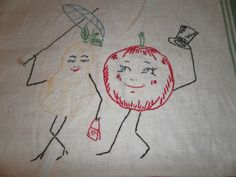 Vintage Embroidered Tea Towel Finished Edge Fruit Pears Apple