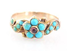 Georgian 18CT Gold Turquoise Garnet Forget by WestandSonJewellery