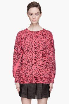 Pierre Balmain Deep Magenta Leopard Print Sweater