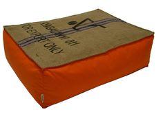 Coussin de sol en toile de jute et coton orange - Oranjade