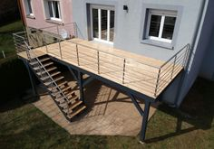Wood deck over water - larch - # # Wood # Larch # Rooftop Terrace Design, Balcony Design, Balcony Railing, Roof Deck, Deck Over, Patio Deck Designs, Exterior Stairs, Outdoor Stairs, Railing Design