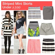 Under $100: Striped Mini Skirts on Polyvore