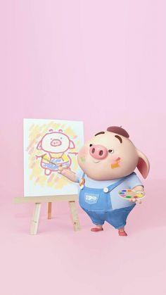 Pig Wallpaper, Animal Wallpaper, This Little Piggy, Little Pigs, Cute Piglets, 3d Art, Pig Drawing, Pig Illustration, Animated Dragon
