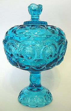 Ornate-Blue-Glass-Compote-with-Lid-L-E-Smith-Moon-and-Stars