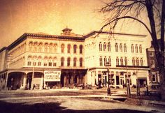 """Today's image is of the northeast corner of N. 5th and Penn Sts, circa late 19th century. The building on the corner originally known as the State House was constructed in 1793, although the upper floors are a later addition after a fire in 1872. Remember to tell your friends to """" like"""" our main page. Thanks for helping to share Reading's architectural history. Reading Pennsylvania, Today Images, Reading Pa, Main Page, Historical Photos, 19th Century, Louvre, London, History"""