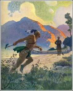 Flourishing Tomahawk by NC Wyeth for Deerslayer by James Fenimore Cooper. Published by Scribner's, 1925