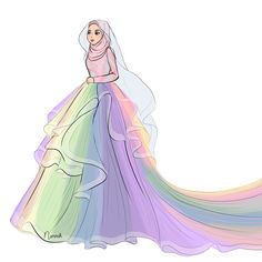 🌈Rainbow dress by ❤️ Totally a fairy-tale dress😍 . Dress Design Sketches, Fashion Design Drawings, Fashion Sketches, Hijab Drawing, Dress Drawing, Modele Hijab, Islamic Cartoon, Fashion Drawing Dresses, Hijab Look
