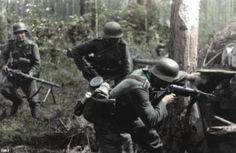 Wehrmacht soldiers searching partisans
