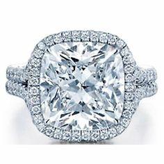 2 Ct Carat GIA Cushion Cut Halotwo Shank Diamond Ring GIA Certified D VS1 VS2