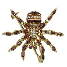 Ruby Diamond Yellow Gold Spider Pin   From a unique collection of vintage brooches at https://www.1stdibs.com/jewelry/brooches/brooches/