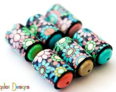 Spring Winds- Barrel beads - 6 Handmade polymer clay beads - pastel colored barrel beads