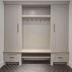 Grey Mudroom Cabinet and herringbone tile. Grey Mudroom Cabinet and herringbone tile. Mudroom Cabinets, Mudroom Laundry Room, Bench Mudroom, Mud Room In Garage, Mudrooms With Laundry, Mudroom Storage Ideas, Mud Room Lockers, Boot Room Storage, Closet Mudroom